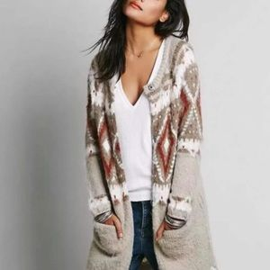 Free People Fair Isle Mohair/Wool Duster C…
